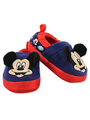 Mickey Mouse Toddler Boy's Plush A-Line Slippers with 3D Ears (7-8 M US Toddler, Navy)