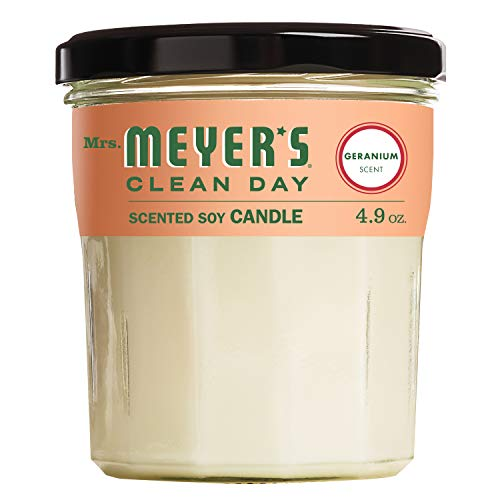 Mrs. Meyer's Clean Day Scented Soy Aromatherapy Candle, 35 Hour Burn Time, Made with Soy Wax, Geranium, 4.9 oz