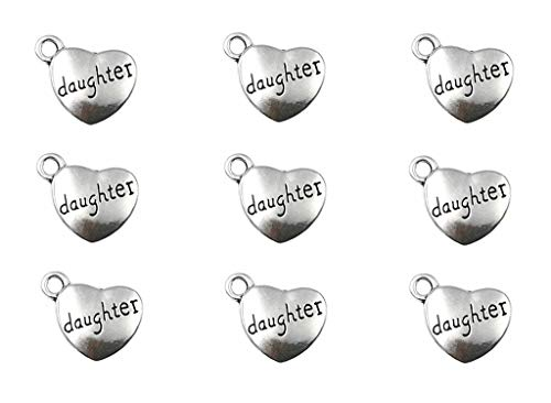 30pcs Daughter Charm,Heart Shape Double-Faced Pendant for DIY Bracelet Necklace Jewelry Making Findings(Antique Silver)