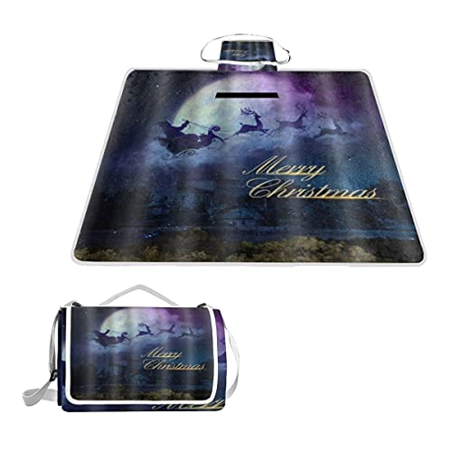 VAMIX Picnic Blanket Extra Large,Merry Christmas Dreamy The Night Santa Claus Reindeer Sleigh And Moon Waterproof Sandproof Foldable Beach Blankets for Travel,Camping with Family,Friends,Kids,57x59'