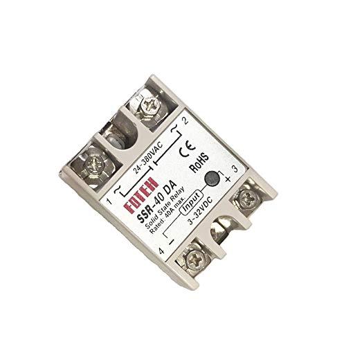 KKmoon 24V-380V 40A SSR-40 DA Solid State Relaismodul Relay Module für die PID Temperaturregler 3-32V DC-AC