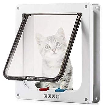 Cat Door  Outer Size 9.48  x 9.25  ,Magnetic Pet Door Kit White,Weatherproof Pet Doors for Cats & Doggie 4 Way Locking Cat Flap Door for Interior Exterior Doors Easy Installation for Window & Wall