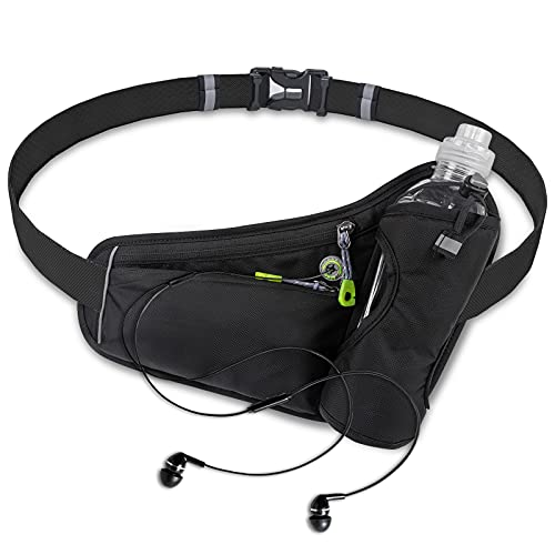 Labeol Running Water Bottle Hydration Belt with Water Bottle Holder Hiking Walking Waist Pack Reflective Adjustable Fanny Pack with Bottle Holder Compatible for Phone Waistband Outdoor Running Belt