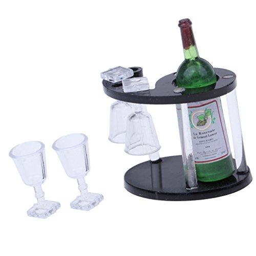 lahomia Estante de Vino de Botella de Champán con Cuatro Copas de Vidrio Casa de Muñecas 1:12
