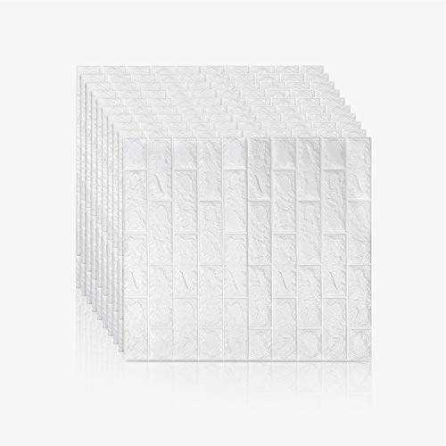 Jueyan 10 PCS 3D Papel Pintado Decoración de Pared en Relieve Piedra de Ladrillo Paneles de Pared Autoadhesivos Pegatinas de Pared de Ladrillo Moderno PE de Eespuma DIY Pared Pegatinas,Blanco