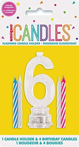 Unique Party- Portavelas de cumpleaños intermitente número 6 con 4 velas (37536)