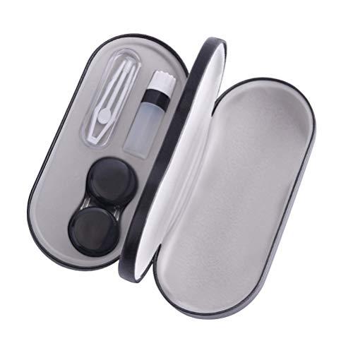 SUPVOX kit de viagem de lentes de contato portátil com porta-óculos, suporte de lentes de contato para pinças, vara de sucção, caixa de armazenamento preta, Preto, 15.8*7.4cm