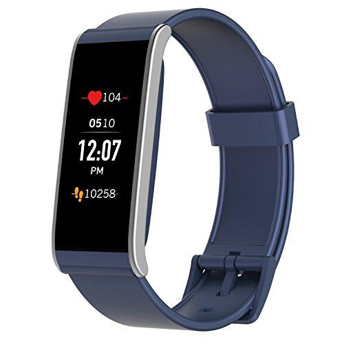 MyKronoz ZeFit4 HR Aktivitätstracker mit Herzfrequenzmonitor, Farbtouchscreen und smarten Benachrichtigungen – Blau / Silbern