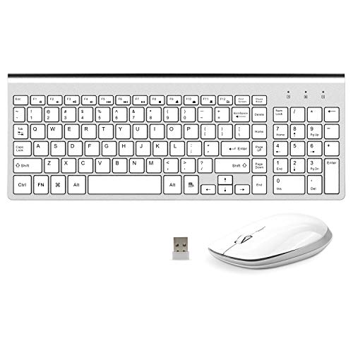 Wireless Keyboard and Mouse Combo Ergonomic Compact with Number Pad Slim Keyboard Mouse for Windows PC Laptop -Silver White