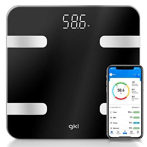 GKL - FITBLUE300 BLACK - Báscula dígital de alta precisión, App móvil gratuita, 12 parámetros, 8 usuarios diferentes y encendido/apagado automático - Negro