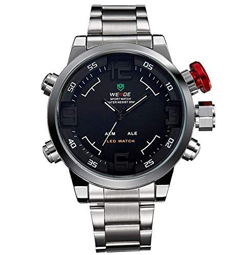CursOnline Elegante reloj de pulsera para hombre y niño, original 2309, doble hora, analógico y digital con LED, correa de acero, resistente al agua, caja de color acero, fondo negro.
