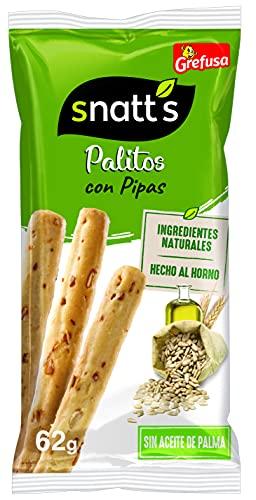 Grefusa - Snatt's | Palitos de Trigo con Pipas - 62 gr - 5 Paquetes (310 gr)