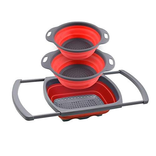 HatPanda Faltbares Sieb, 3-teiliges Set, 1 x 6 Quart über der Spüle, Silikon-Sieb, 1 x 4 Quart & 1 x 2 Quart Faltsieb, spülmaschinenfest (3-Rot)