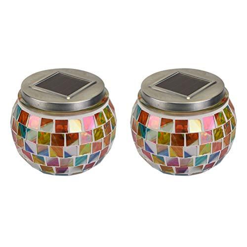 Uonlytech - Juego de 2 lámparas solares LED multicolor con diseño de mosaico y bola de cristal