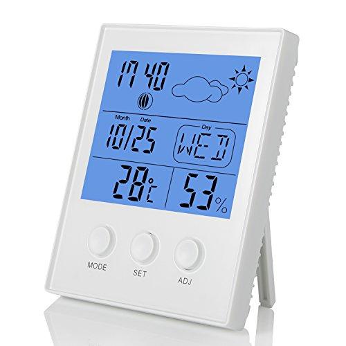 Fitfirst Termometro Igrometro Digitale con Grande Schermo LCD per Misurare la Temperatura da Interno e L'umdità Ambiente