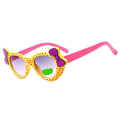 Kinder Baby Mädchen Weichen Kunststoffrahmen Sonnenbrille Anti UV Brille Mode Brillen - Gelbes Rosa