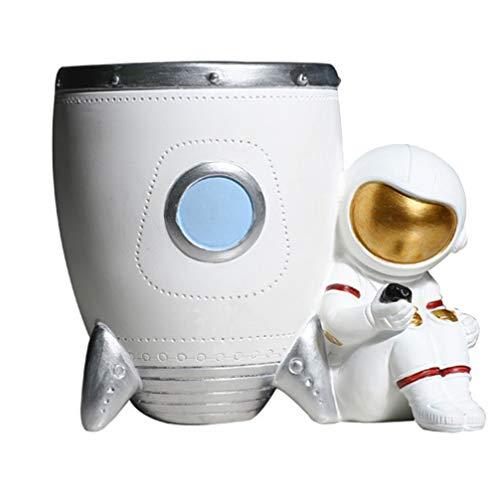 VORCOOL Portalápices de astronauta para lápices, vaso, recipiente para maquillaje, organizador de escritorio, astronauta, figura de regalo para oficina en casa