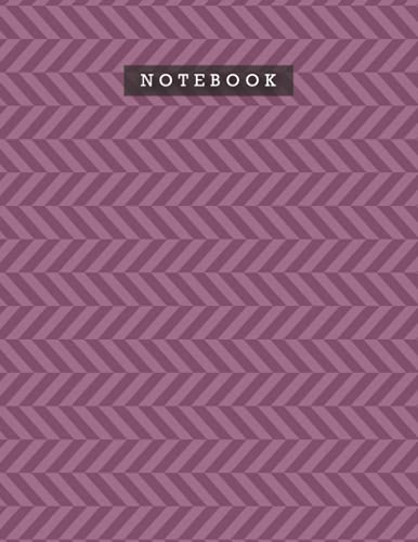 Notebook Tyrian Purple Color Foxes Zigzac Diagonal Stripes Patterns Cover Lined Journal: Diary, Do It All, 21.59 x 27.94 cm, Meal, Planning, 8.5 x 11 inch, A4, Personal, Weekly, 110 Pages