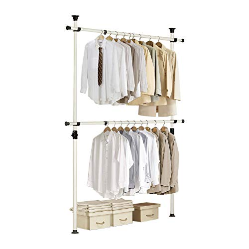 Prince Hanger, One Touch Double Adjustable Clothes Rack, Clothing Rack, Garment Rack, Freestanding, Organizer, Heavy Duty, Tension Rod, PHUS-0023, Made in Korea