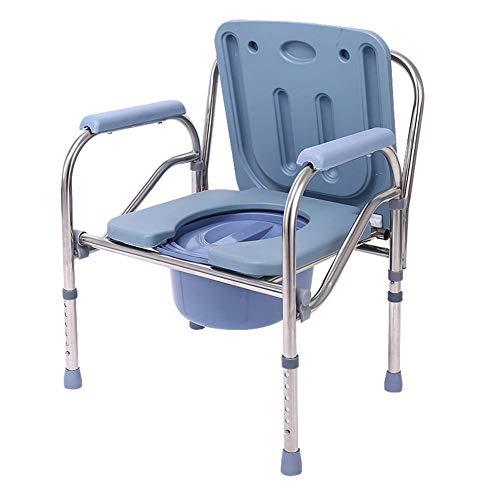 Z-SEAT Tragbarer Klapp-Toilettenstuhl, Nachttisch, Duschstuhl für Schwangere/Ältere/Behinderte, werkzeuglose Installation, Edelstahl