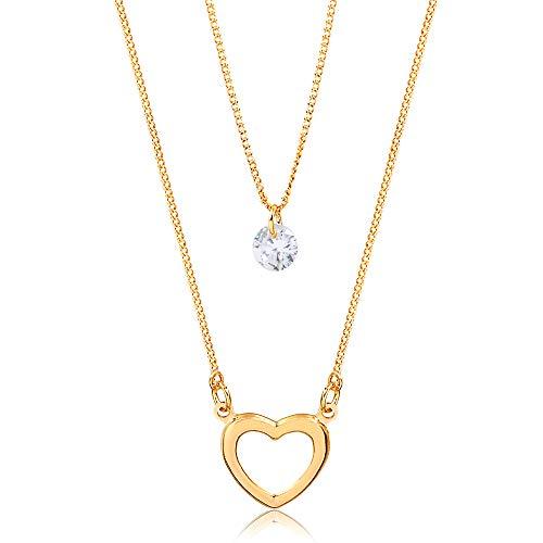 Colar duplo c/coração e ponto de luz folheado em ouro