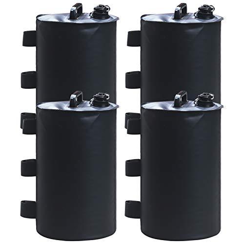 ABCCANOPY - Bolsa de pesas, peso para patas para toldo emergente, tienda instantánea, relleno de Gazebo con agua, paquete de 4 piezas (negro)