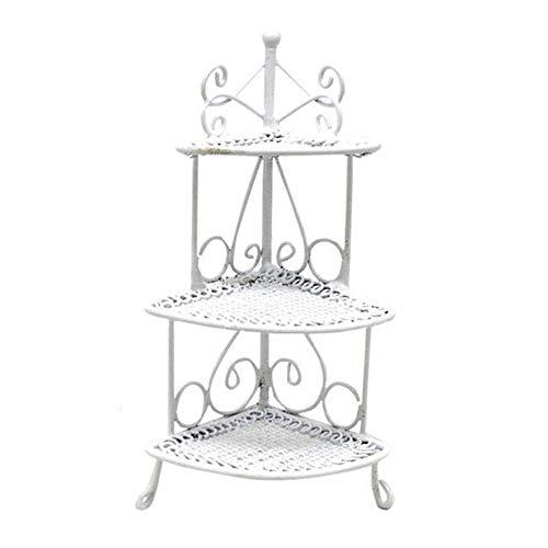 Blackzone 1/12 Doll House Furniture Miniature Triangle Flower Stand Accessory Iron Art Desk Decor White