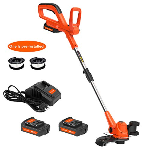 Best Prices! PAXCESS Cordless String Trimmer/Edger Lightweight&Powerful with 2 pcs 20V Batterys, Ora...