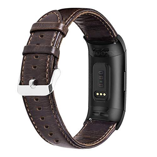 YOOSIDE Cinturino per Fitbit Charge 3, Cinturino Classico in Vera Pelle per Fitbit Charge 3 / Charge 3 SE,caffè