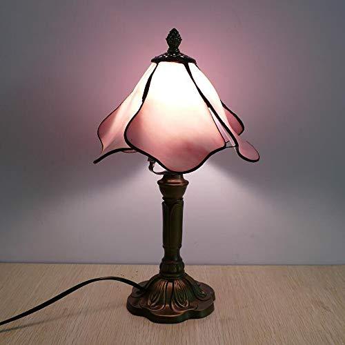 Lampada da tavolo in stile Tiffany 8 pollici Lotus Design, stile europeo mediterraneo Ristorante Bar Cafe Lampada da tavolo piccola lampada da tavolo con paralume in vetro (colore : Rosa)