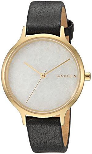 Skagen Damen Analog Quarz Uhr mit Leder Armband SKW2671