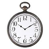 FISHTEC Reloj de Pared de Diseño - Estilo Vintage - Fácil Lectura con Números Grandes - Radiocontrolado - Adecuado para la Cocina, la Oficina o el Salón - 30 cm - Negro y Cobre