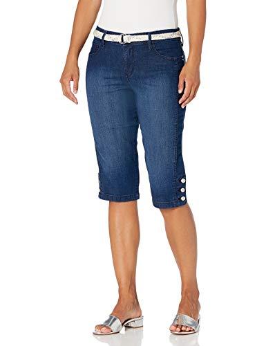 Gloria Vanderbilt Women's Mila Belted Skimmer Short, Dark Blue, 16