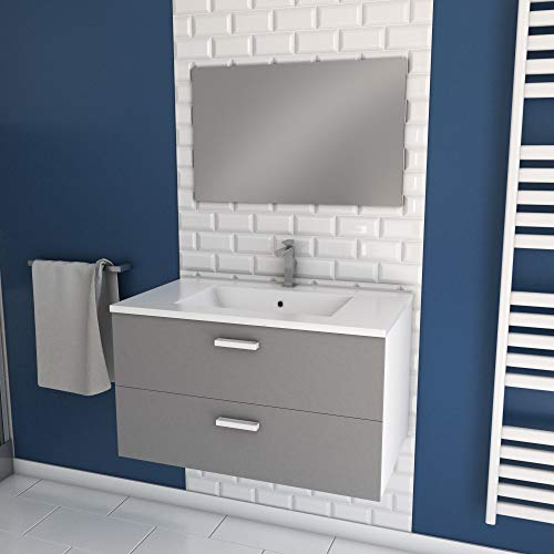 Aurlane Meuble Salle de Bain 80 cm monté Suspendu Gris H46xL80xP45cm - avec tiroirs - Vasque et Miroir - Box-in 80 Grey