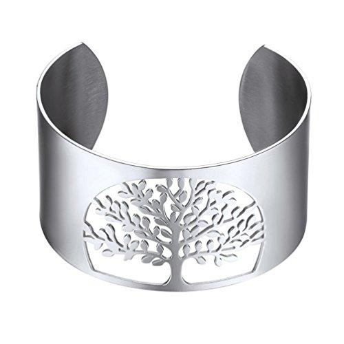 PROSTEEL Damen Offener Armreif Edelstahl Baum des Lebens Manschette Armband 40MM breit Weltenbaum Lebensbaum Armspange Armschmuck für Mädchen Frauen