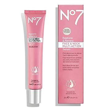 No#7 Restore & Renew Face & Neck Multi Action Serum Oinically Proven Suitable for Sensitive Skin 50ml 1.6 US FL OZ