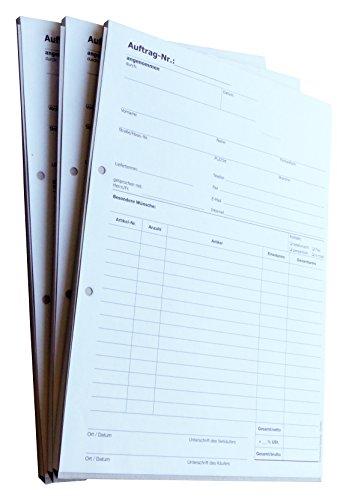 5x Auftragsblock Block Auftrag DIN A4, 2-fach selbstdurchschreibend, 2x50 Blatt weiß/gelb - gelocht (22204)