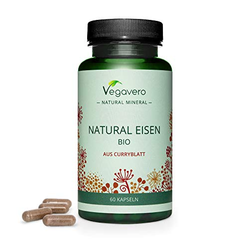 Natural Iron Vegavero | Fatigue, Energy & Immune System* | 100% Vegan | from Organic Curry Tree Leaves| Without Additives | 60 Capsules