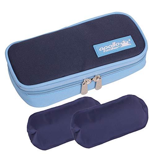 Apollo Walker Insulin Cool Travel Case, 2 Ice Packs Organizer Medical Cooler Bag Keeps Diabetics Medication Cool (Blue)