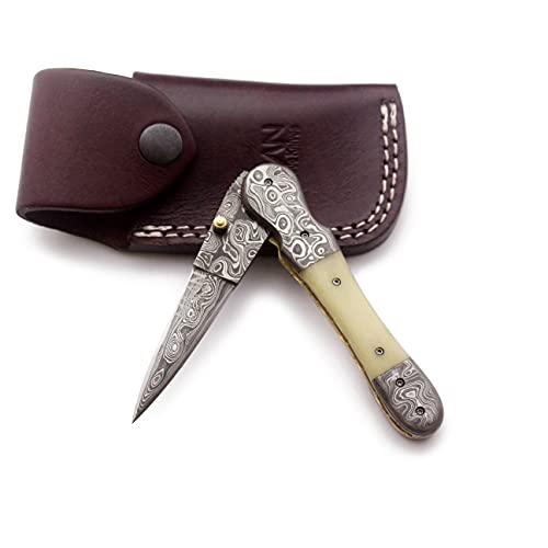 MAAN Cuchillo de acero de Damasco hecho a mano para caza, supervivencia, camping, skinning, bushcraft, mango de madera de hueso completo con funda de piel de vacuno M-073.