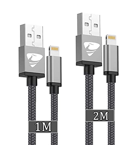 Aioneus Cable iPhone, Cable Cargador iPhone [2pack 1M 2M] Cable Lightning MFI...