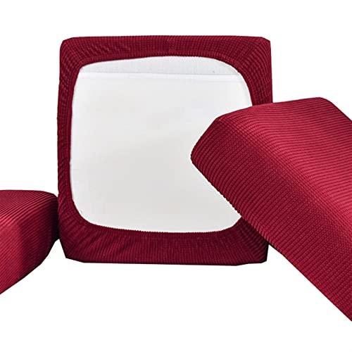 Funda de cojín para asiento de sofá para niños, funda elástica, gruesa, lavable, extraíble, para sofá, protector de sofá (color: burdeos, especificación: tamaño estándar1)