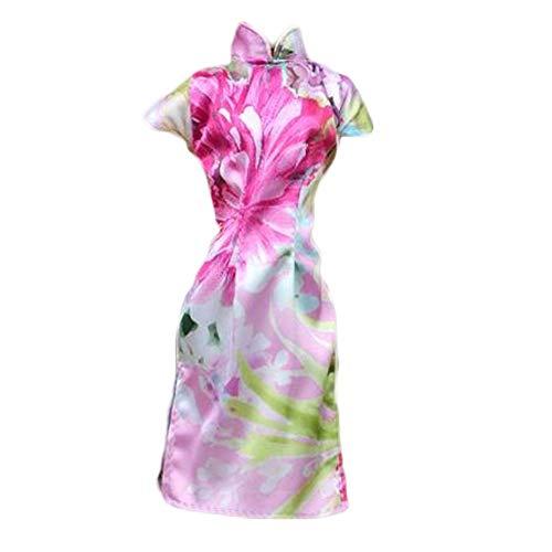 BLANCHO BEDDING Handgemachte mehrfarbige rosa Blumen chinesische Cheongsam Kleid Puppe Kleidung Puppe Zubehör für 11,5-Zoll-Puppe