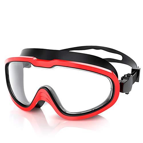 Fenvella Occhialini da Nuoto, Antiappannamento PC Lente Integrata con Protezione UV Impermeabile, occhialini Piscina in Silicone con Adatti per Adulti, Bambini (Nero Rosso, Adulti)