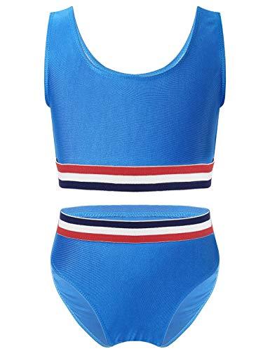 TiaoBug Mädchen Sport Bikini Tankini Set Crop Top Bustier Oberteil und Bikinislip Badehose mit Streifen Sonnenschutz Zweiteilige Badebekleidung Beachwear Blau 170-176