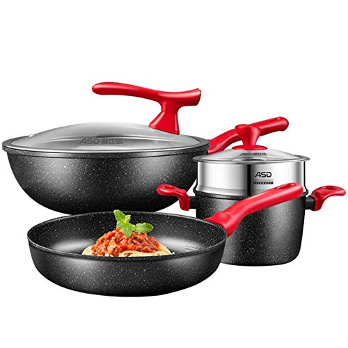 MotBach Professional SART Set Nostick 6 Pieza Utensilios de Cocina Set Lavaplatos Safe Potes y Pans Set Professional para el Restaurante Home PTFE/PFOA/PFOS Gratis