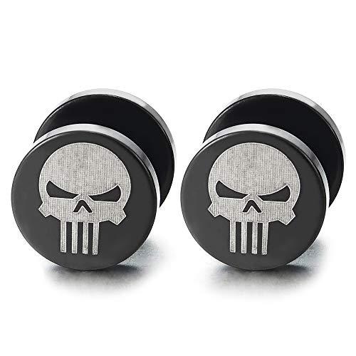 2 Mens Silver Black Punisher Skull Stud Earring, Steel Cheater Fake Ear Plugs Gauges Illusion Tunnel(8mm)