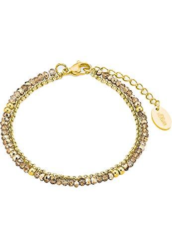 s.Oliver Damen-Armband Edelstahl IP Gold Beschichtung Glassteine gold
