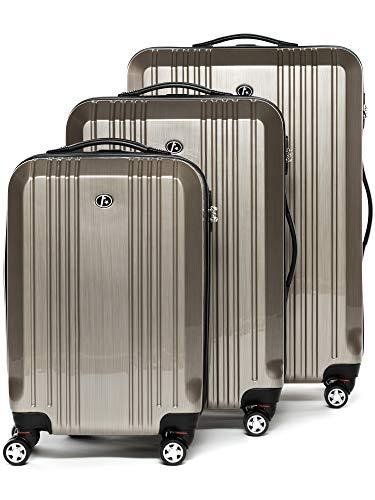FERGÉ Kofferset Hartschale 3-teilig Cannes Trolley-Set mit Handgepäck 3er Set Hartschalenkoffer Roll-Koffer Reise-Trolley mit 4 Rollen ABS & PC Champagner