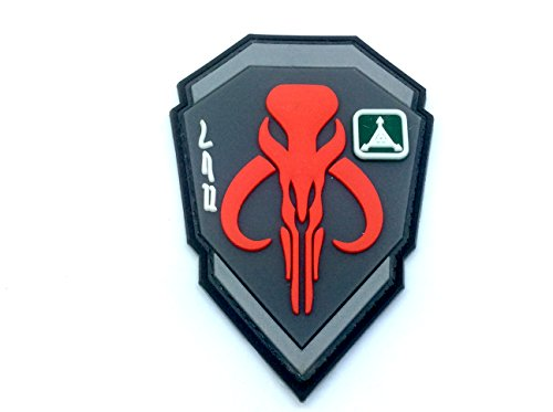 Bounty Hunter Boba Fett Mandalorian Bantha Totenkopf rot 3D PVC Paintball Patch